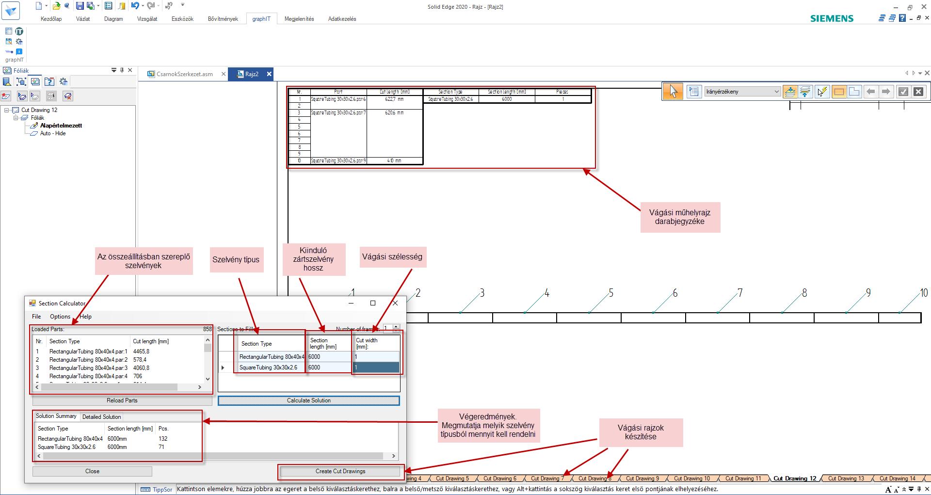 3. kép Solid Edge Szálanyag kalkulátor és háttérben a vele generált vágási műhelyrajz